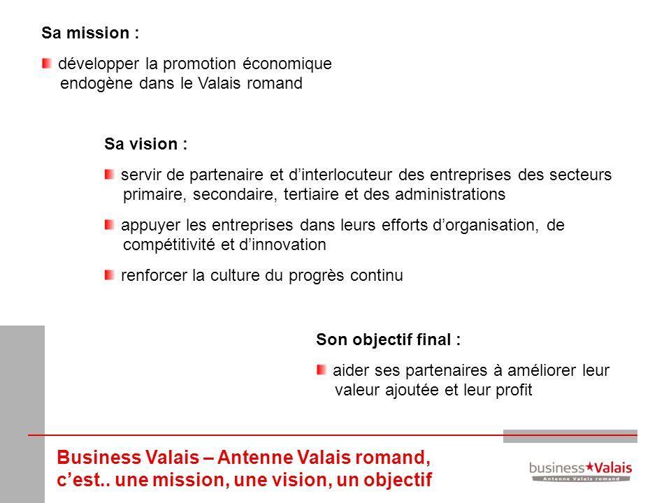 Business Valais – Antenne Valais romand, cest.. une mission, une vision, un objectif Sa mission : développer la promotion économique endogène dans le