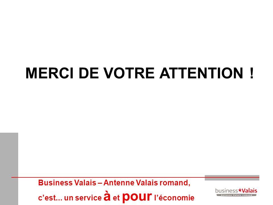 Business Valais – Antenne Valais romand, cest... un service à et pour léconomie MERCI DE VOTRE ATTENTION !