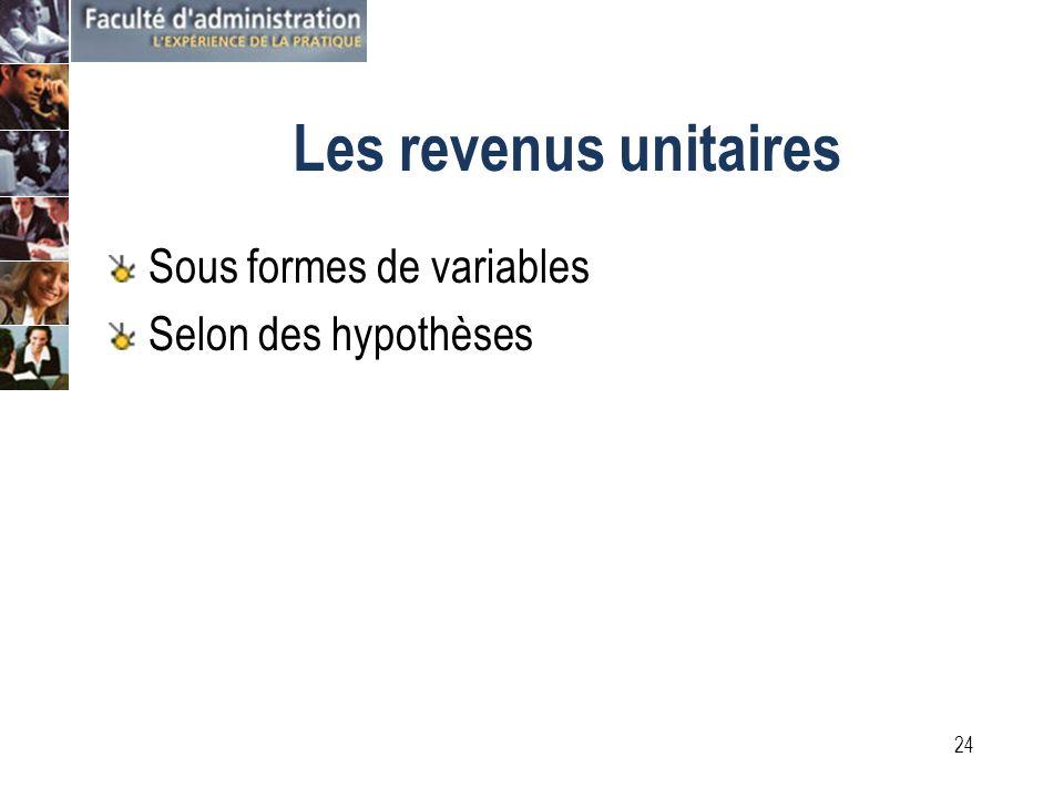 23 Les coûts unitaires Sous formes de variables