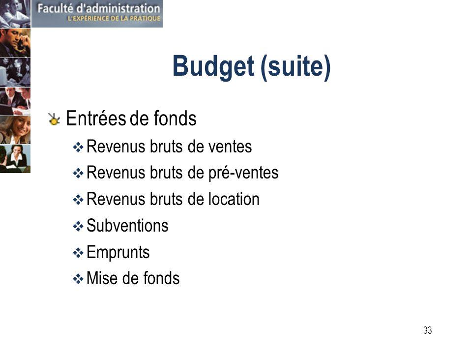 32 Budget annuel projet total Ici repose lanalyse de rentabilité ainsi que la détermination de lenveloppe budgétaire