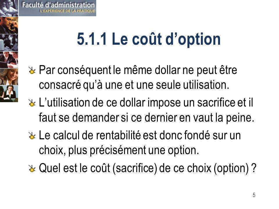 4 5.1.1 Le coût doption Le calcul de la rentabilité se prononce sur la meilleure utilisation possible des ressources.