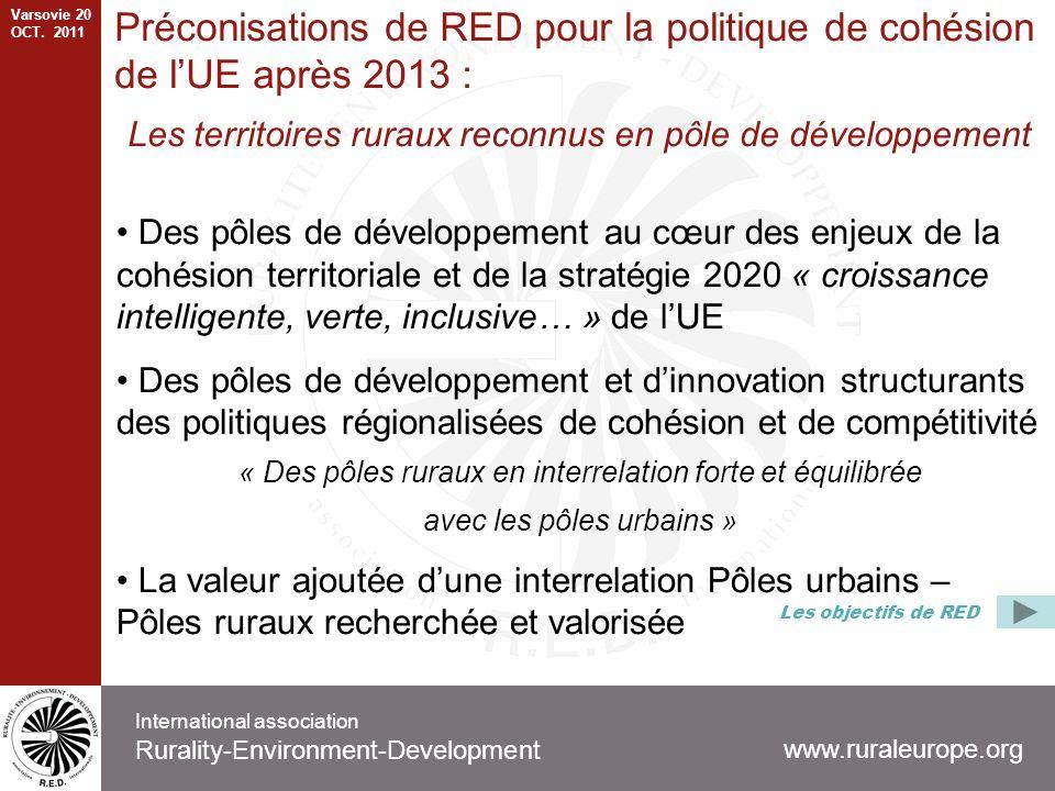 Préconisations de RED pour la politique de cohésion de lUE après 2013 : Les territoires ruraux reconnus en pôle de développement Des pôles de développement au cœur des enjeux de la cohésion territoriale et de la stratégie 2020 « croissance intelligente, verte, inclusive… » de lUE Des pôles de développement et dinnovation structurants des politiques régionalisées de cohésion et de compétitivité « Des pôles ruraux en interrelation forte et équilibrée avec les pôles urbains » La valeur ajoutée dune interrelation Pôles urbains – Pôles ruraux recherchée et valorisée www.ruraleurope.org International association Rurality-Environment-Development Les objectifs de RED Varsovie 20 OCT.