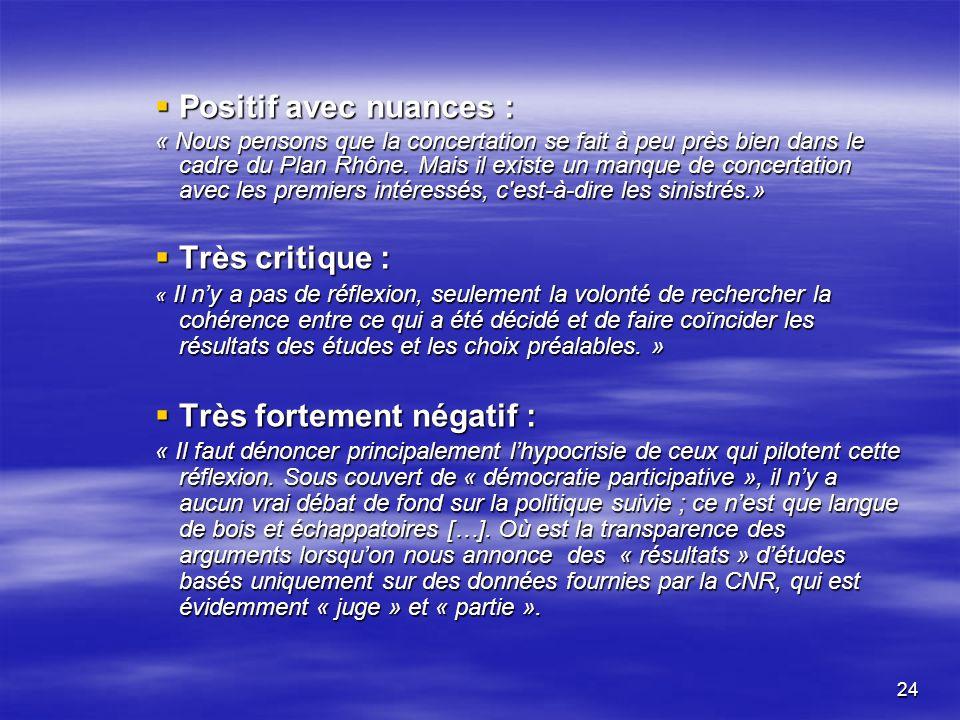 24 Positif avec nuances : Positif avec nuances : « Nous pensons que la concertation se fait à peu près bien dans le cadre du Plan Rhône.