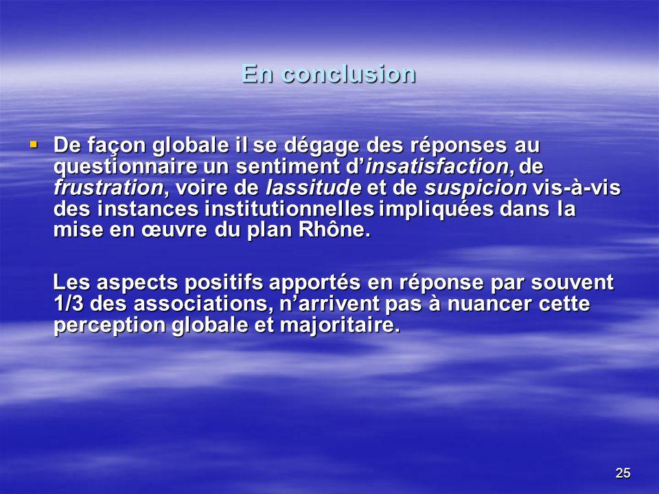 25 En conclusion De façon globale il se dégage des réponses au questionnaire un sentiment dinsatisfaction, de frustration, voire de lassitude et de suspicion vis-à-vis des instances institutionnelles impliquées dans la mise en œuvre du plan Rhône.