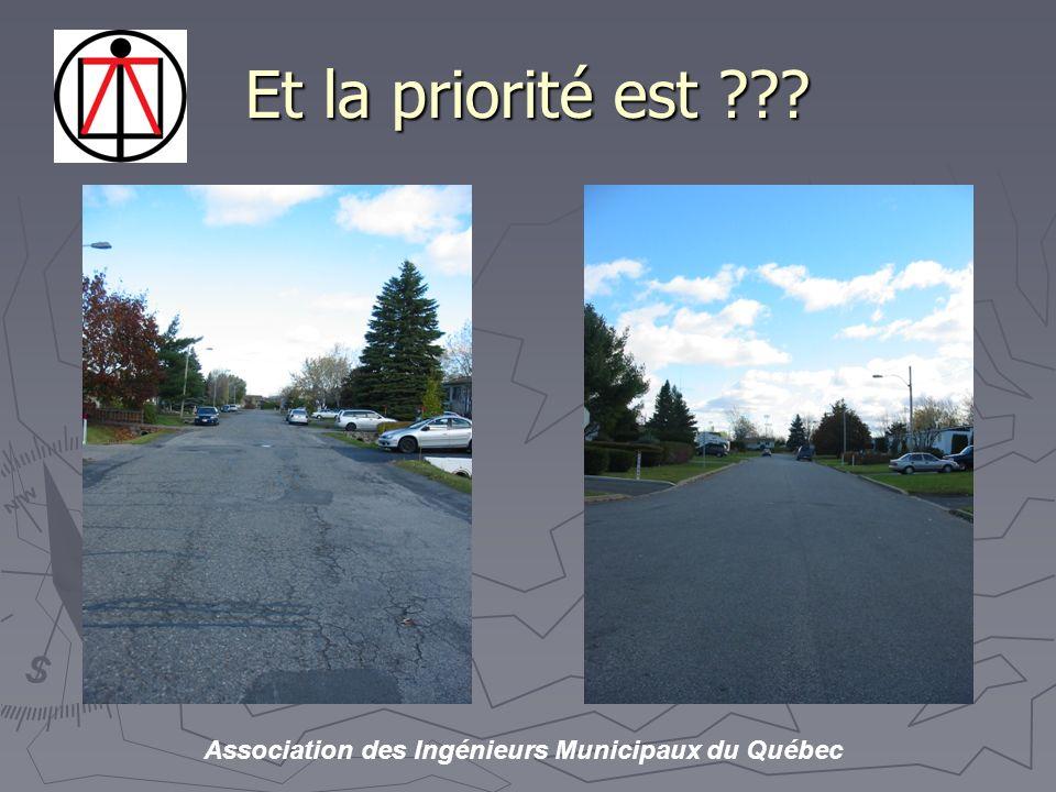 Association des Ingénieurs Municipaux du Québec Et la priorité est ???