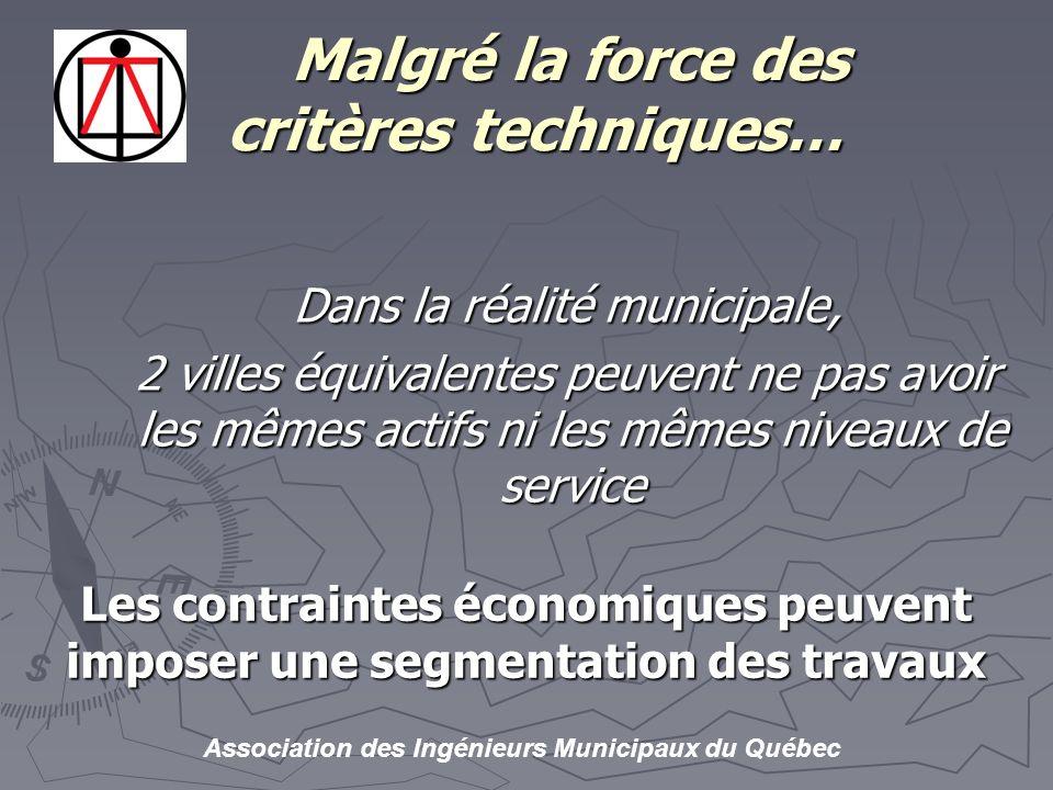 Association des Ingénieurs Municipaux du Québec Malgré la force des critères techniques… Malgré la force des critères techniques… Dans la réalité municipale, 2 villes équivalentes peuvent ne pas avoir les mêmes actifs ni les mêmes niveaux de service Les contraintes économiques peuvent imposer une segmentation des travaux