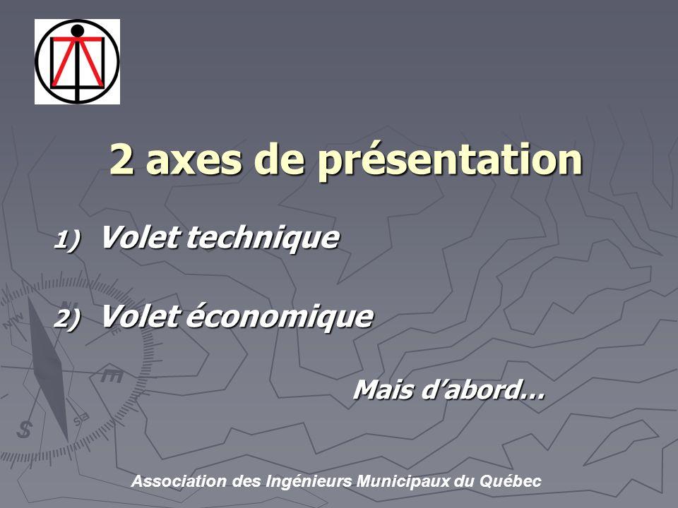 Association des Ingénieurs Municipaux du Québec 2 axes de présentation 1) Volet technique 2) Volet économique Mais dabord…