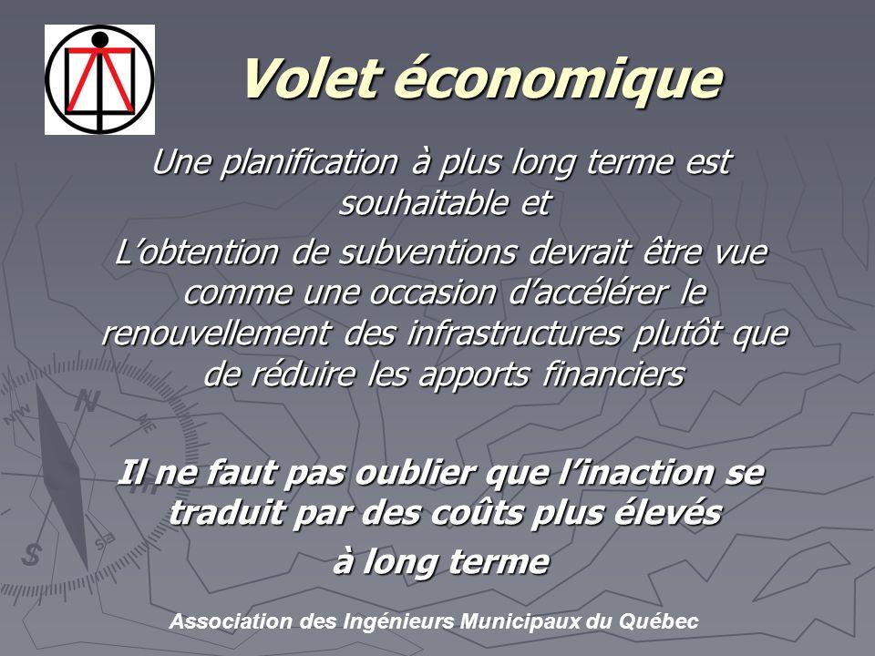 Association des Ingénieurs Municipaux du Québec Volet économique Volet économique Une planification à plus long terme est souhaitable et Lobtention de subventions devrait être vue comme une occasion daccélérer le renouvellement des infrastructures plutôt que de réduire les apports financiers Il ne faut pas oublier que linaction se traduit par des coûts plus élevés à long terme