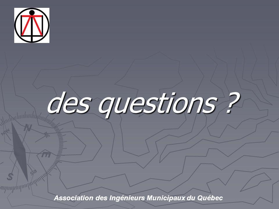 Association des Ingénieurs Municipaux du Québec des questions ?