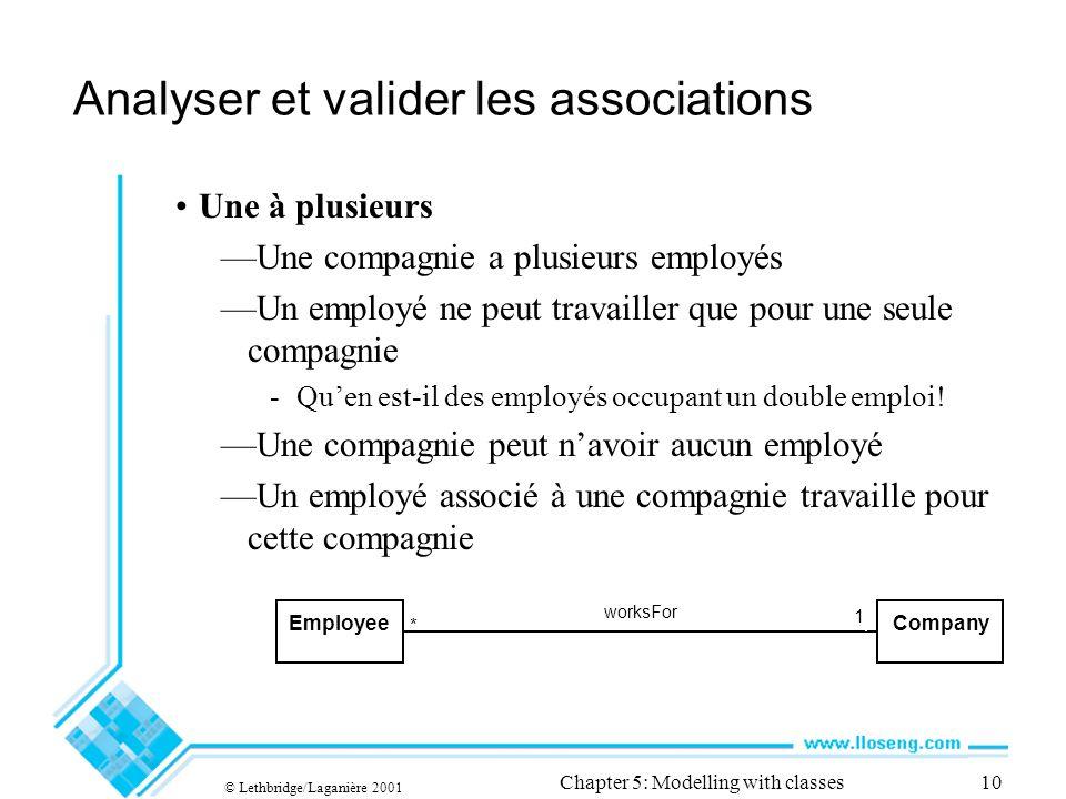 © Lethbridge/Laganière 2001 Chapter 5: Modelling with classes10 Analyser et valider les associations Une à plusieurs Une compagnie a plusieurs employés Un employé ne peut travailler que pour une seule compagnie -Quen est-il des employés occupant un double emploi.