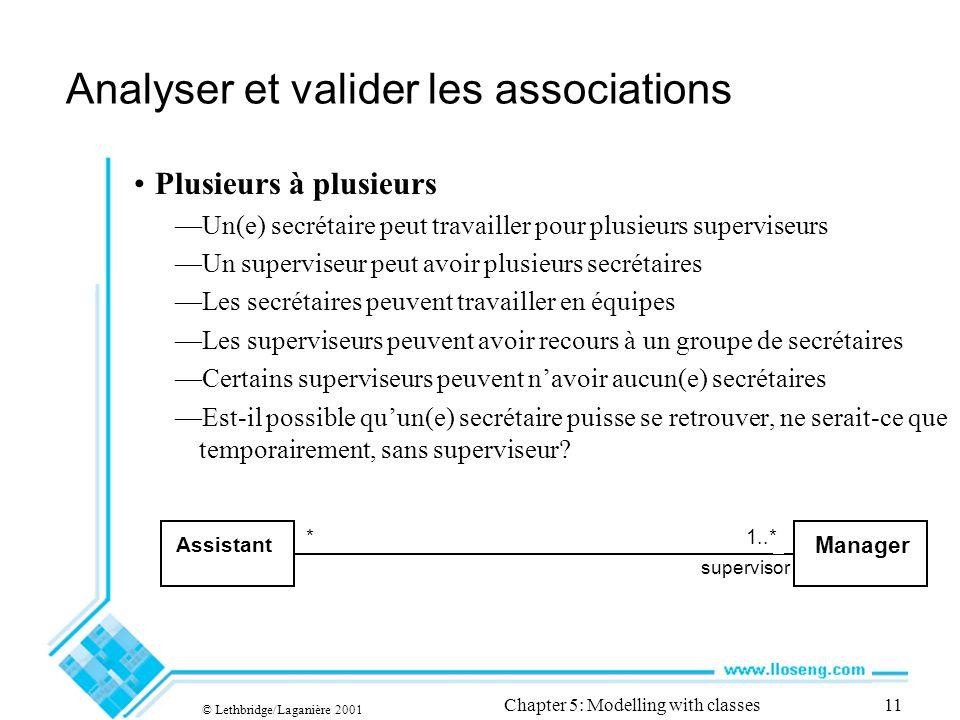 © Lethbridge/Laganière 2001 Chapter 5: Modelling with classes11 Analyser et valider les associations Plusieurs à plusieurs Un(e) secrétaire peut trava