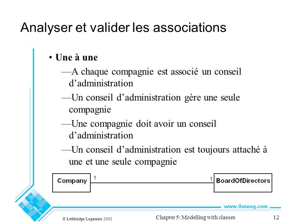 © Lethbridge/Laganière 2001 Chapter 5: Modelling with classes12 Analyser et valider les associations Une à une A chaque compagnie est associé un conse