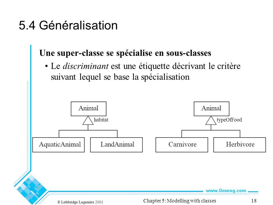 © Lethbridge/Laganière 2001 Chapter 5: Modelling with classes18 5.4 Généralisation Une super-classe se spécialise en sous-classes Le discriminant est une étiquette décrivant le critère suivant lequel se base la spécialisation