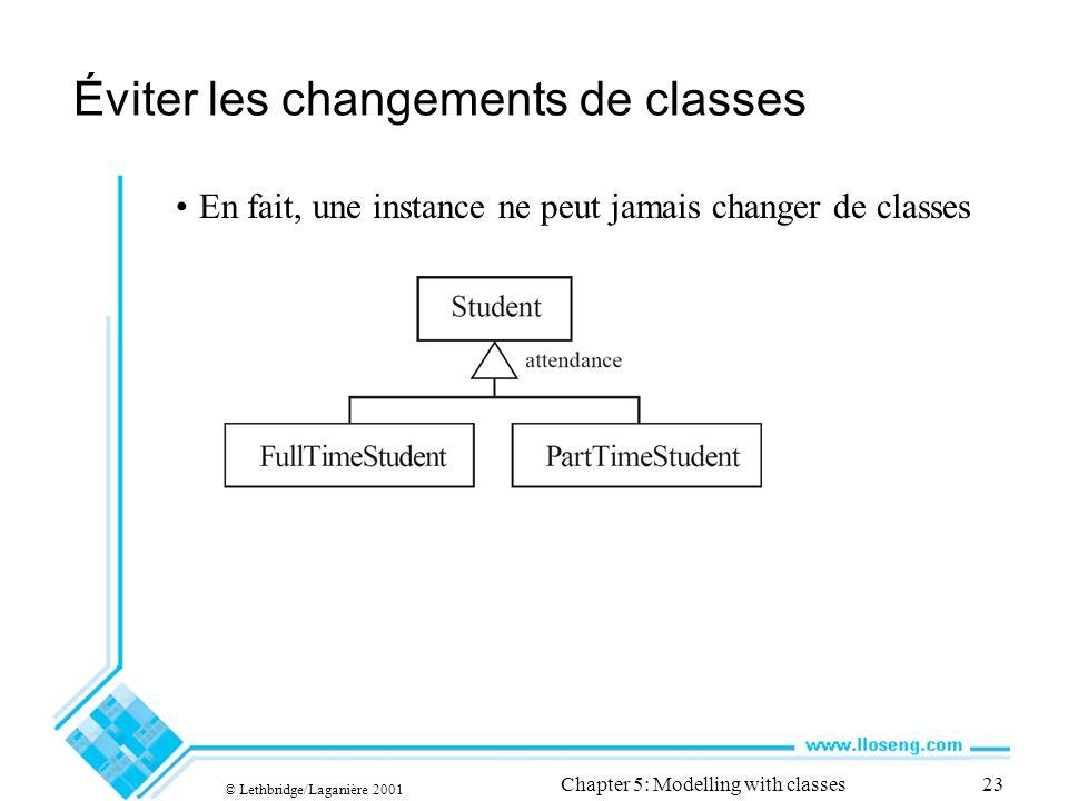 © Lethbridge/Laganière 2001 Chapter 5: Modelling with classes23 Éviter les changements de classes En fait, une instance ne peut jamais changer de classes