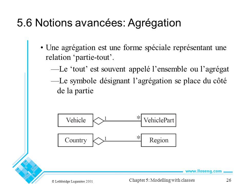 © Lethbridge/Laganière 2001 Chapter 5: Modelling with classes26 5.6 Notions avancées: Agrégation Une agrégation est une forme spéciale représentant une relation partie-tout.