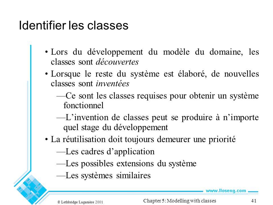 © Lethbridge/Laganière 2001 Chapter 5: Modelling with classes41 Identifier les classes Lors du développement du modèle du domaine, les classes sont dé