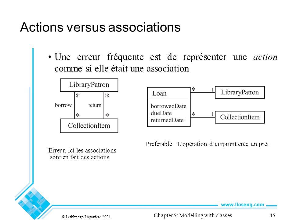 © Lethbridge/Laganière 2001 Chapter 5: Modelling with classes45 Actions versus associations Une erreur fréquente est de représenter une action comme s