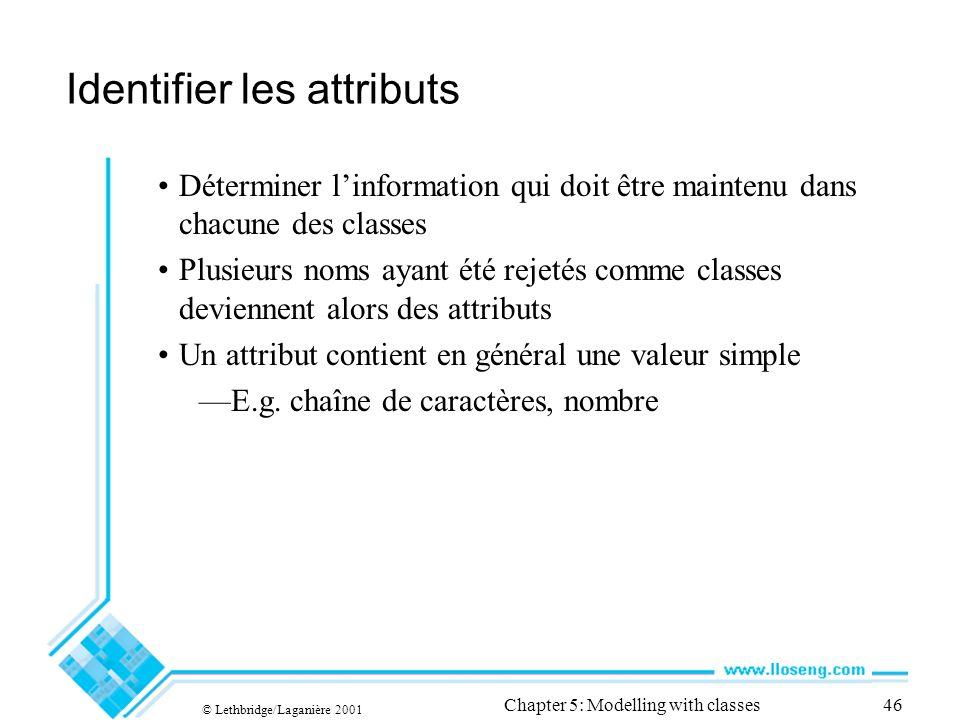 © Lethbridge/Laganière 2001 Chapter 5: Modelling with classes46 Identifier les attributs Déterminer linformation qui doit être maintenu dans chacune d