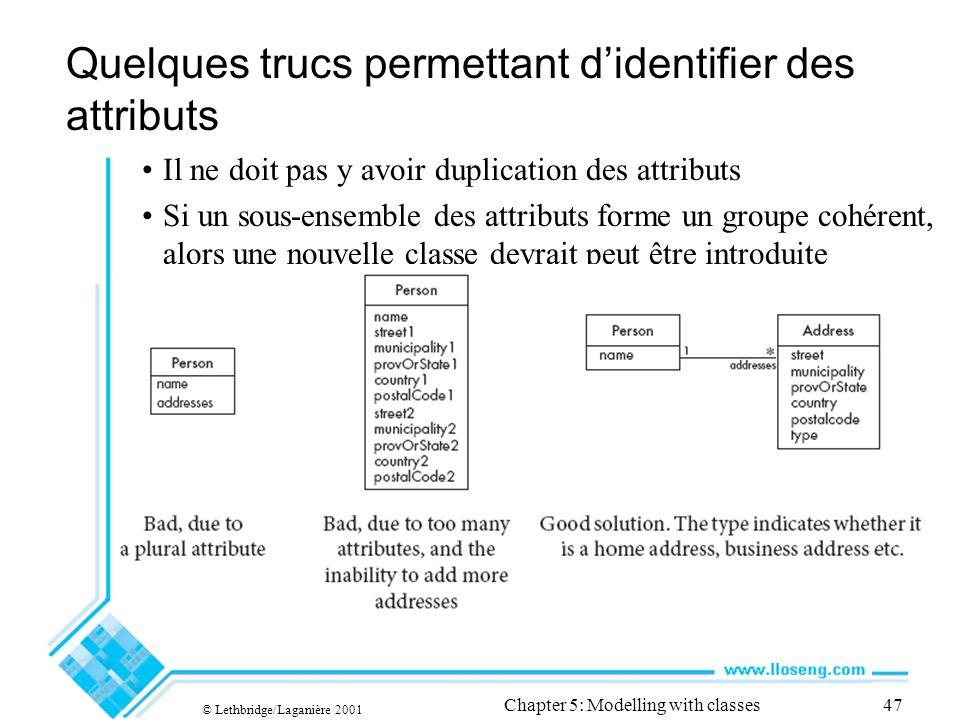 © Lethbridge/Laganière 2001 Chapter 5: Modelling with classes47 Quelques trucs permettant didentifier des attributs Il ne doit pas y avoir duplication des attributs Si un sous-ensemble des attributs forme un groupe cohérent, alors une nouvelle classe devrait peut être introduite
