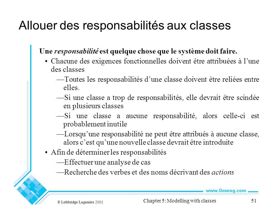 © Lethbridge/Laganière 2001 Chapter 5: Modelling with classes51 Allouer des responsabilités aux classes Une responsabilité est quelque chose que le système doit faire.