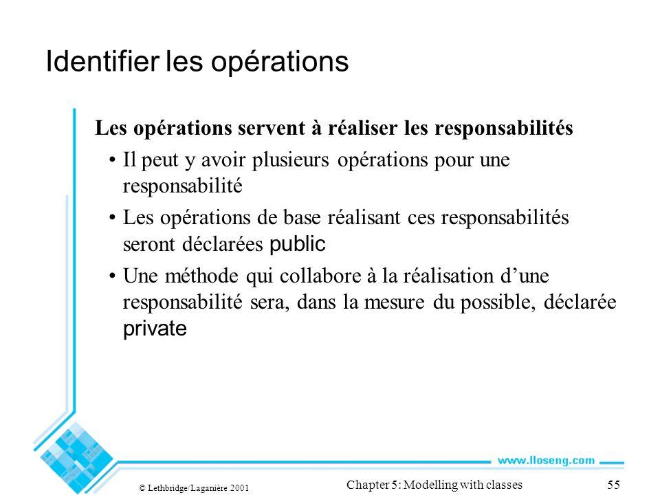 © Lethbridge/Laganière 2001 Chapter 5: Modelling with classes55 Identifier les opérations Les opérations servent à réaliser les responsabilités Il peu