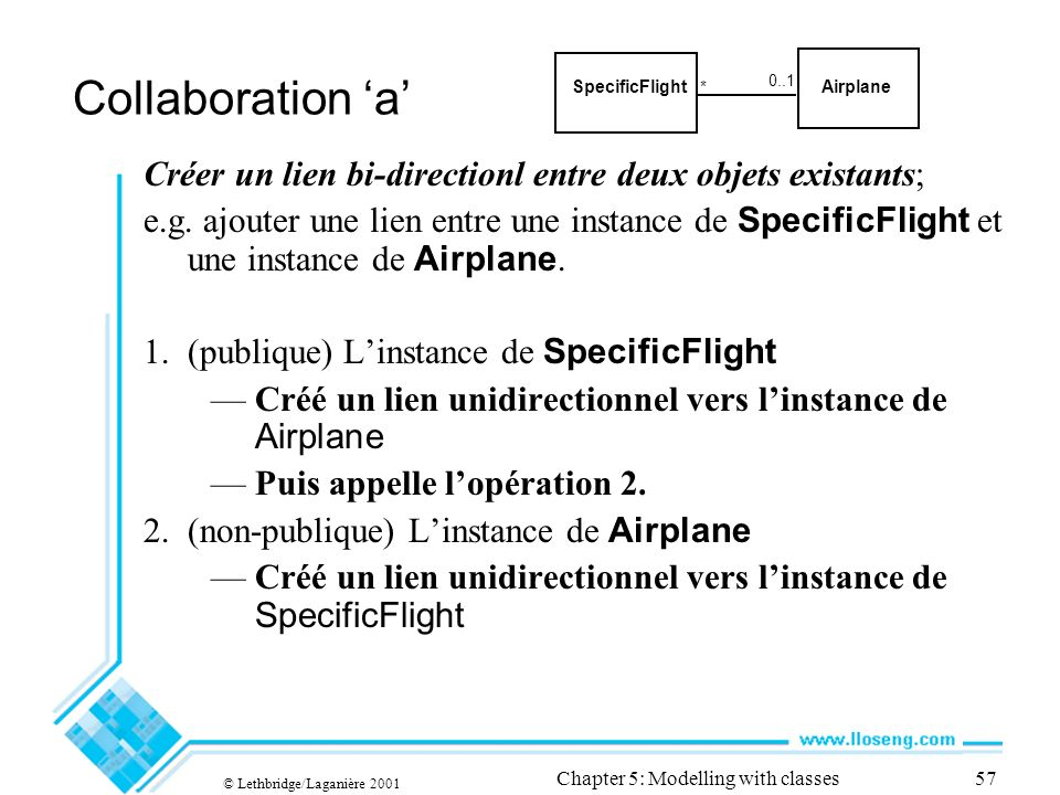 © Lethbridge/Laganière 2001 Chapter 5: Modelling with classes57 Collaboration a Créer un lien bi-directionl entre deux objets existants; e.g.