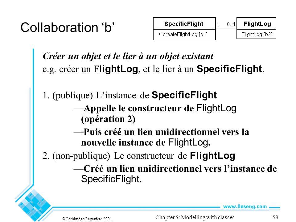 © Lethbridge/Laganière 2001 Chapter 5: Modelling with classes58 Collaboration b Créer un objet et le lier à un objet existant e.g. créer un Fl ightLog