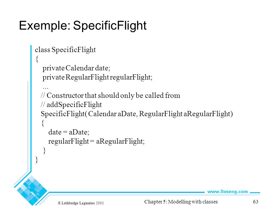 © Lethbridge/Laganière 2001 Chapter 5: Modelling with classes63 class SpecificFlight { private Calendar date; private RegularFlight regularFlight;...