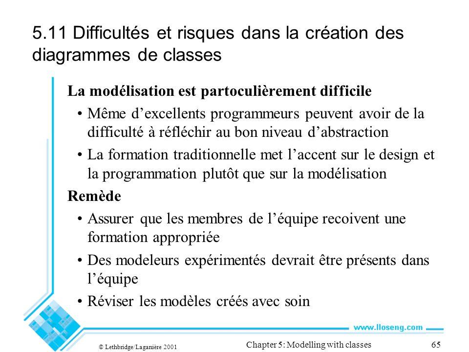 © Lethbridge/Laganière 2001 Chapter 5: Modelling with classes65 5.11 Difficultés et risques dans la création des diagrammes de classes La modélisation