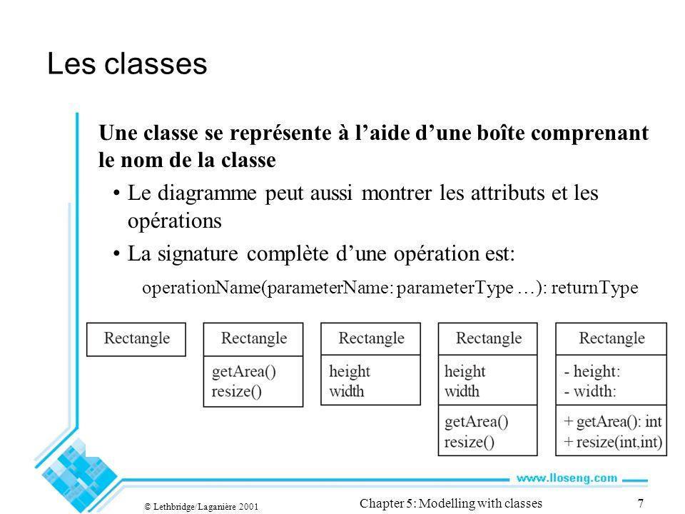 © Lethbridge/Laganière 2001 Chapter 5: Modelling with classes7 Les classes Une classe se représente à laide dune boîte comprenant le nom de la classe Le diagramme peut aussi montrer les attributs et les opérations La signature complète dune opération est: operationName(parameterName: parameterType …): returnType