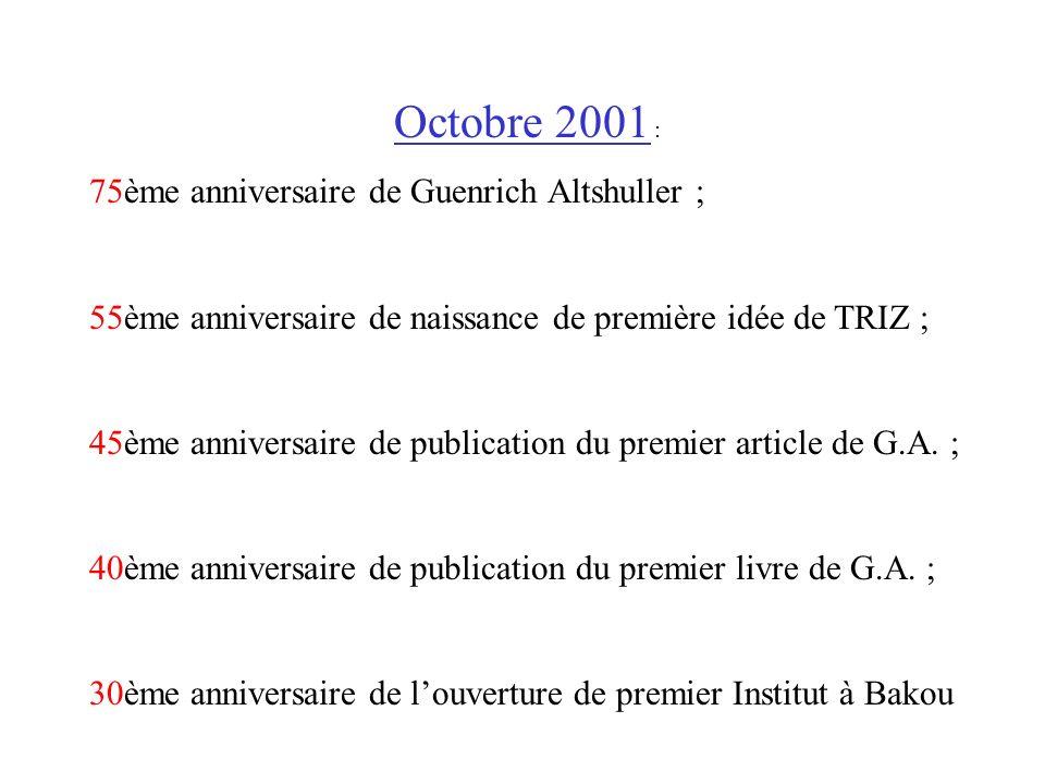 Octobre 2001 : 75ème anniversaire de Guenrich Altshuller ; 55ème anniversaire de naissance de première idée de TRIZ ; 45ème anniversaire de publicatio