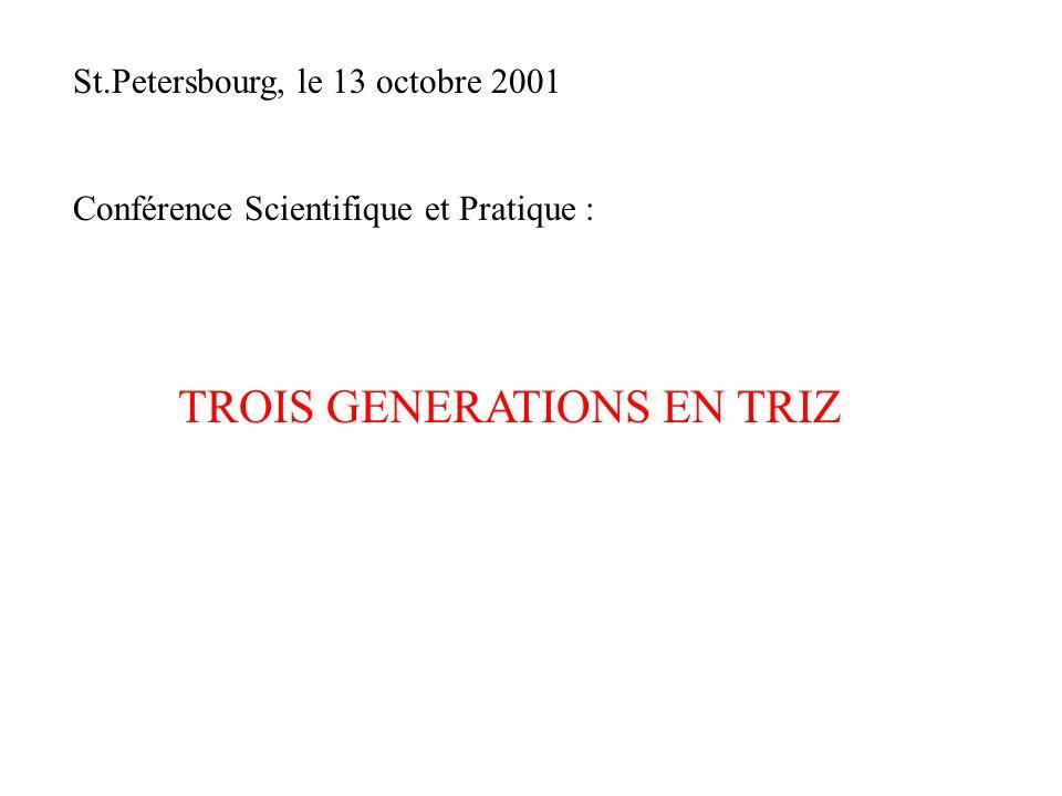 St.Petersbourg, le 13 octobre 2001 Conférence Scientifique et Pratique : TROIS GENERATIONS EN TRIZ