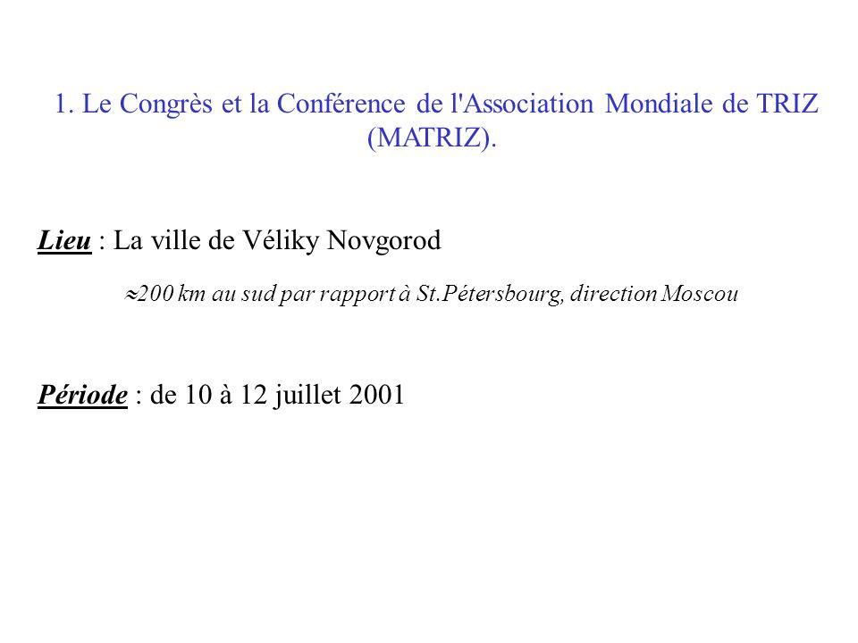 1. Le Congrès et la Conférence de l'Association Mondiale de TRIZ (MATRIZ). Lieu : La ville de Véliky Novgorod 200 km au sud par rapport à St.Pétersbou
