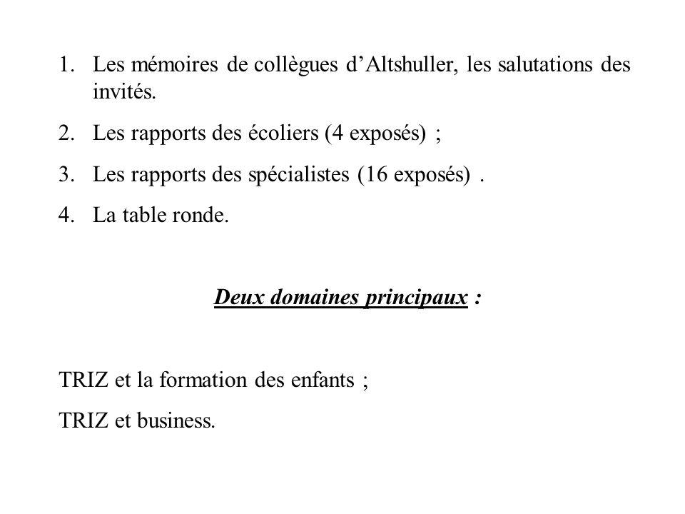 1.Les mémoires de collègues dAltshuller, les salutations des invités. 2.Les rapports des écoliers (4 exposés) ; 3.Les rapports des spécialistes (16 ex