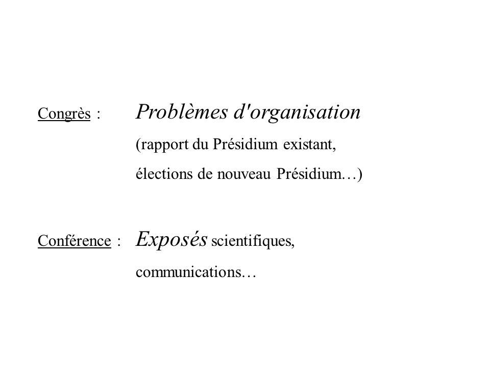 Congrès : Problèmes d'organisation (rapport du Présidium existant, élections de nouveau Présidium…) Conférence : Exposés scientifiques, communications