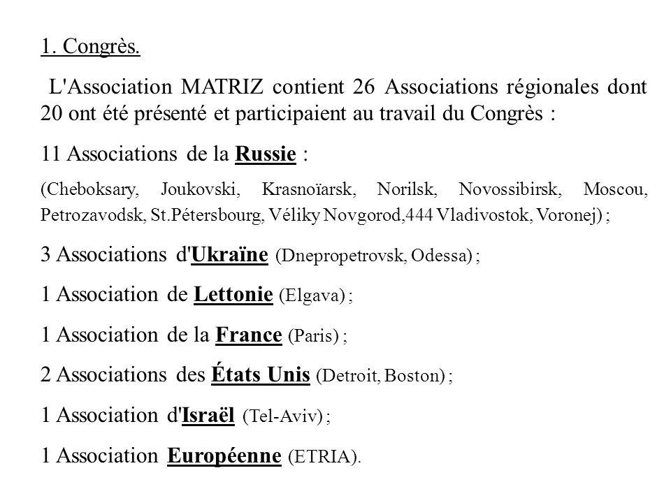 1. Congrès. L'Association MATRIZ contient 26 Associations régionales dont 20 ont été présenté et participaient au travail du Congrès : 11 Associations