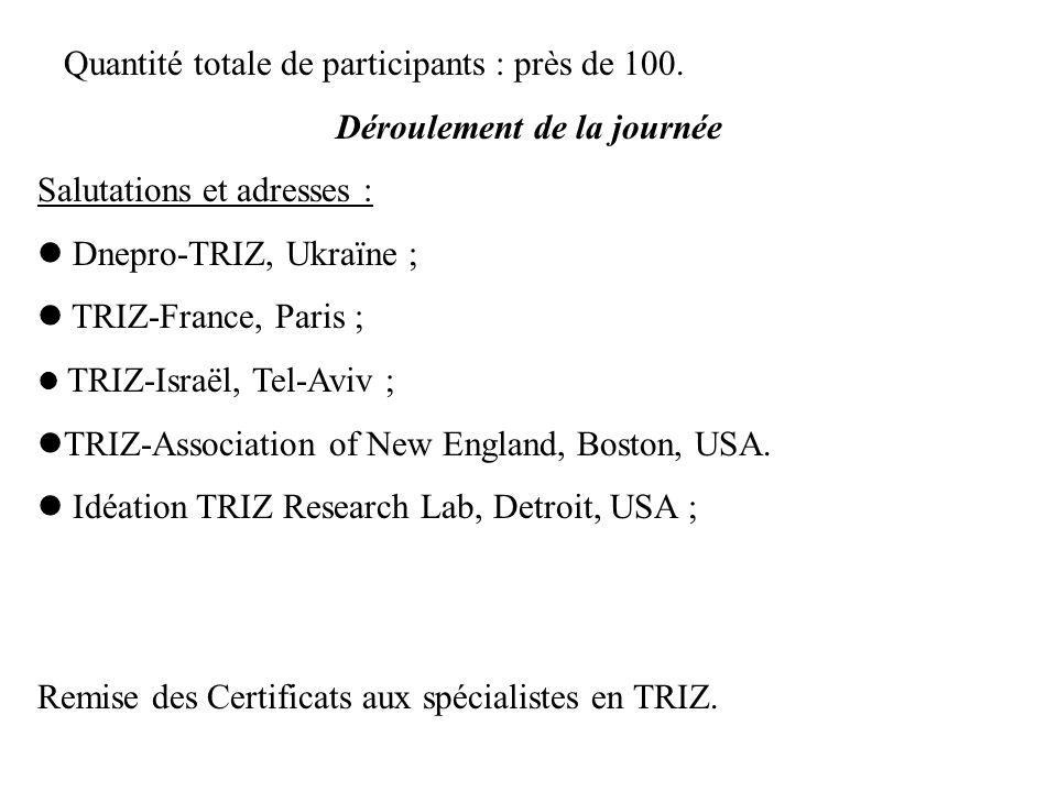 Quantité totale de participants : près de 100. Déroulement de la journée Salutations et adresses : Dnepro-TRIZ, Ukraïne ; TRIZ-France, Paris ; TRIZ-Is