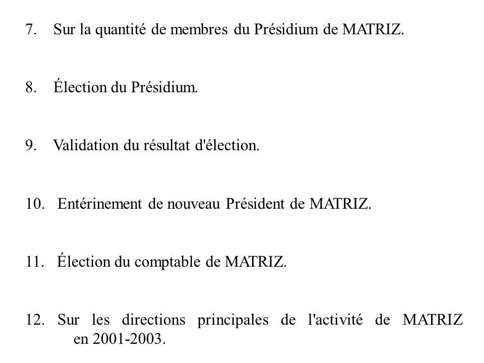 7. Sur la quantité de membres du Présidium de MATRIZ. 8. Élection du Présidium. 9. Validation du résultat d'élection. 10. Entérinement de nouveau Prés