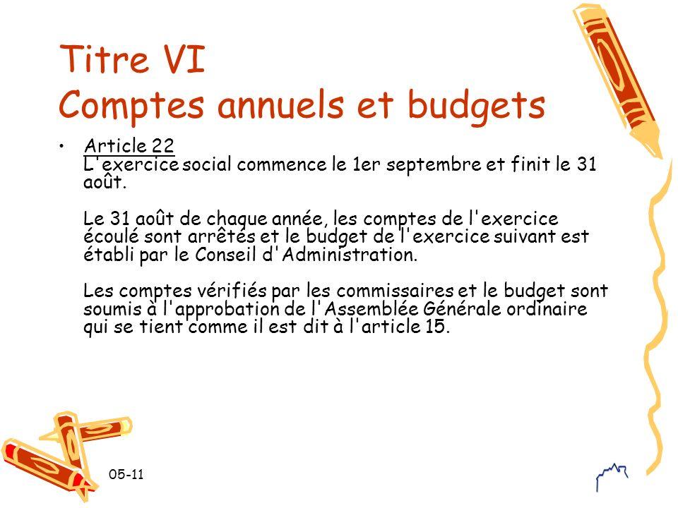 05-11 Titre VI Comptes annuels et budgets Article 22 L'exercice social commence le 1er septembre et finit le 31 août. Le 31 août de chaque année, les
