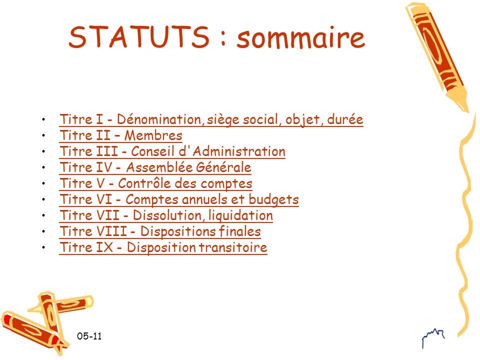 05-11 STATUTS : sommaire Titre I - Dénomination, siège social, objet, durée Titre II – Membres Titre III - Conseil d'Administration Titre IV - Assembl