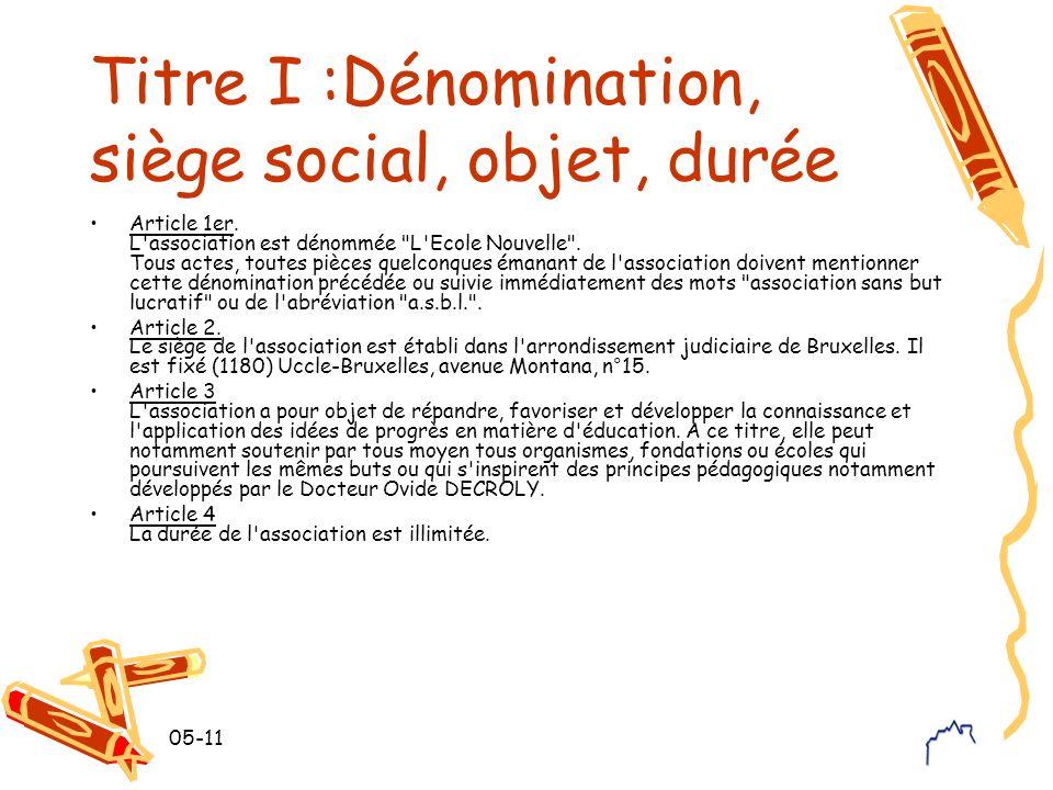 05-11 Titre I :Dénomination, siège social, objet, durée Article 1er. L'association est dénommée