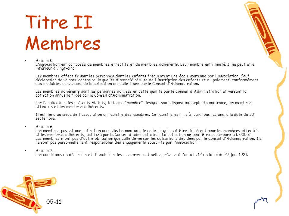 05-11 Titre II Membres Article 5 L'association est composée de membres effectifs et de membres adhérents. Leur nombre est illimité. Il ne peut être in