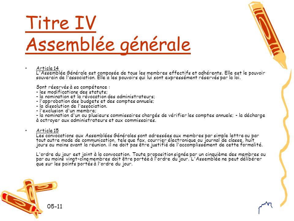 05-11 Titre IV Assemblée générale Article 14 L'Assemblée Générale est composée de tous les membres effectifs et adhérents. Elle est le pouvoir souvera