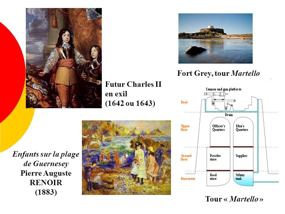 Futur Charles II en exil (1642 ou 1643) Tour « Martello » Fort Grey, tour Martello Enfants sur la plage de Guernesey Pierre Auguste RENOIR (1883)