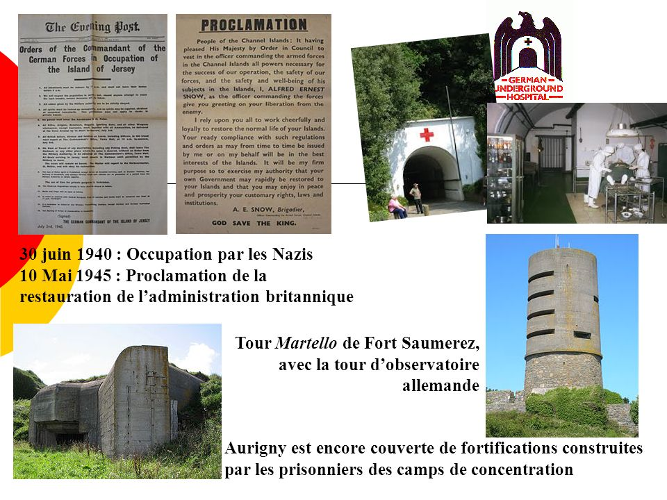 Tour Martello de Fort Saumerez, avec la tour dobservatoire allemande Aurigny est encore couverte de fortifications construites par les prisonniers des