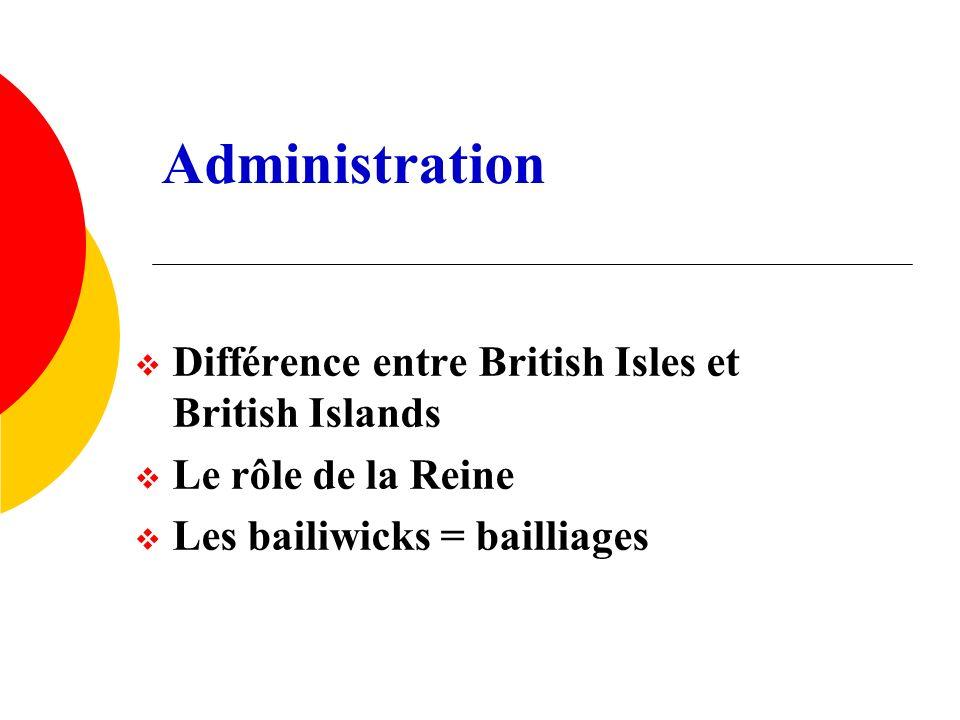 Administration Différence entre British Isles et British Islands Le rôle de la Reine Les bailiwicks = bailliages