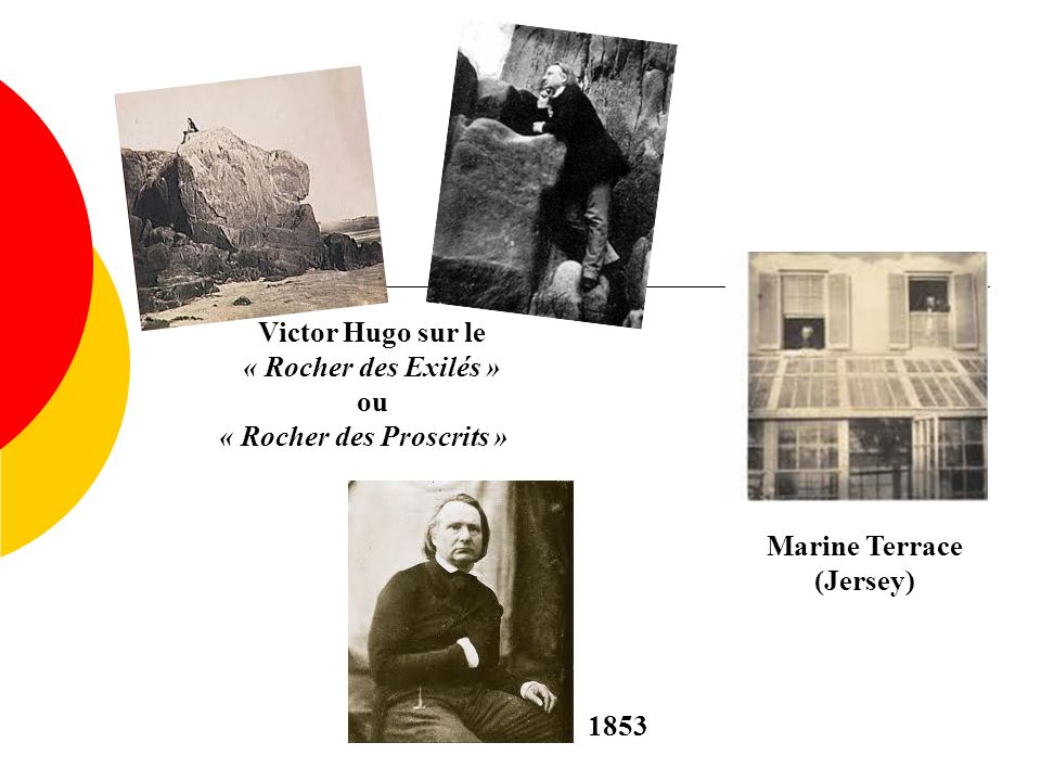 Victor Hugo sur le « Rocher des Exilés » ou « Rocher des Proscrits » 1853 Marine Terrace (Jersey)