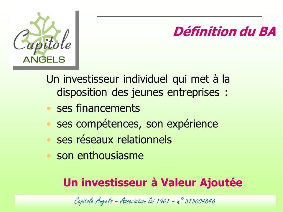 Un investisseur individuel qui met à la disposition des jeunes entreprises : ses financements ses compétences, son expérience ses réseaux relationnels