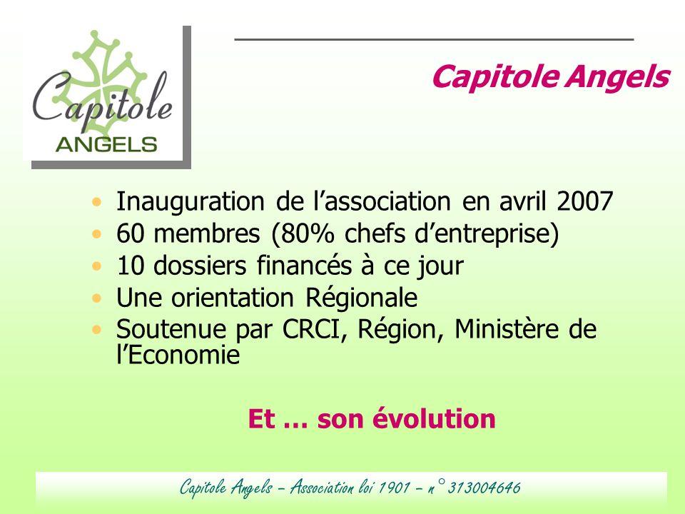 Inauguration de lassociation en avril 2007 60 membres (80% chefs dentreprise) 10 dossiers financés à ce jour Une orientation Régionale Soutenue par CR
