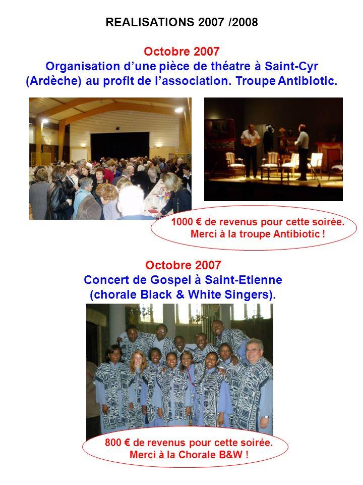 REALISATIONS 2007 /2008 Octobre 2007 Organisation dune pièce de théatre à Saint-Cyr (Ardèche) au profit de lassociation. Troupe Antibiotic. 1000 de re